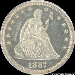 1887 Liberty Seated Quarter, Nice White, PCGS Proof 64