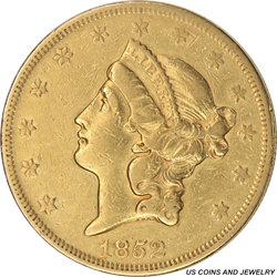 1852 Liberty $20 Gold Double Eagle AU++ Type 1 Double Eagle