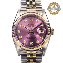 Rolex 36mm Datejust  RN/16013 Pink 10 Diamond Dial Watch Only