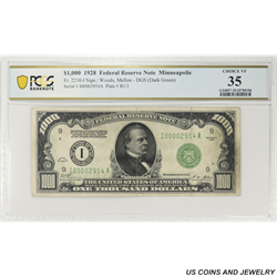 1928 $1000 Federal Reserve Note, Fr. 2210-I, Minneapolis,  PCGS 35 Choice Very Fine