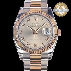 Rolex Datejust TT SS &18K RG Roman Dial & Fluted Bezel Watch only