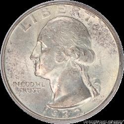 1932-D Washington Quarter PCGS MS62 Frosty Select Uncirculated