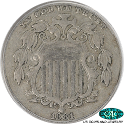 1881 Shield Nickel PCGS and CAC XF40