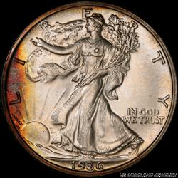 1936 Walking Liberty Half Dollar Toned PCGS PR67