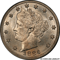 1886 Liberty V Nickel PCGS MS63