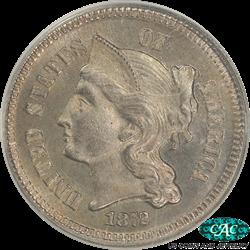 1872 Three Cent Nickel Proof PCGS  PR65 CAC - Old Green PCGS Holder