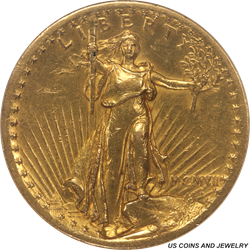 1907  High Relief-Flat Edge St. Gaudens $20 Gold Double Eagle NGC AU55