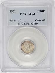 1861 Seated Liberty H10C PCGS MS 64