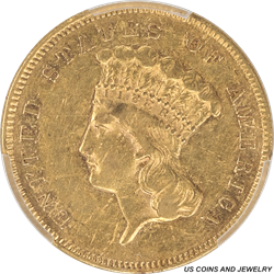 1855 Indian Princess $3 Gold PCGS XF Details Great Type Coin
