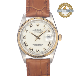 Rolex 36mm Date Just 16233 Gold Roman White Dial Fluted Bezel Head Only on Leather Strap