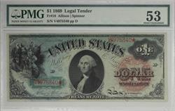 Fr. 18 1869 $1 Legal Tender Rainbow Note S/N V4975340 PMG AU53  Pinholes