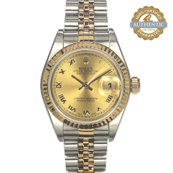 Rolex 26mm Datejust Ref/79173 Watch and Papers Champagne Roman Dial TT SS and 18K YG (2005)