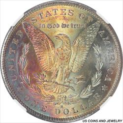 1880-S Morgan Silver Dollar NGC MS63* Purple Gold and Cyan Toned Reverse