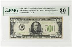 1934 $500 Federal Reserve Note, Cleveland, Fr. 2201-D SN D00003416A PMG VF 30