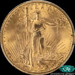 1907  Saint St. Gaudens $20 Gold Double Eagle PCGS CAC MS64