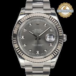 Rolex 41mm Datejust 116334 Rhodium 10 Diamond w WG Fluted Bezel 2015 card with stickers