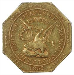 1852 $50 Assay 887 PCGS XF45 California Territorial Gold