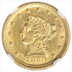 1850-D Liberty$2 1/2 Gold Quarter Eagle NGC MS61 Rare Dahlonega Gold