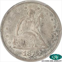 1875-S Seated Liberty Twenty Cent Piece PCGS and CAC MS64
