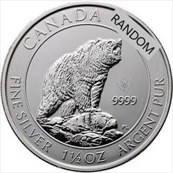 1.5oz Silver RCM Canadian Grizzly Bear
