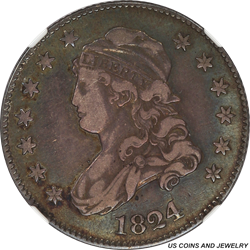 1824/2 Capped Bust Quarter Browning-1 NGC VF-25 (Hilt Collection)