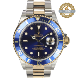 Rolex 40mm Submariner Date 16613 TT SS and 18K YG Bluesy WATCH ONLY