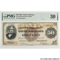 1882 $50 Gold Certificate FR#1192 SN C83042 PMG VF 30