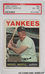 1964 TOPPS #50 Mickey Mantle New York Yankees Outfield PSA EX-MT 6