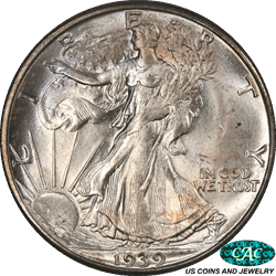 1939-D Walking Liberty Half Dollar PCGS and CAC MS66 an Outstanding Luster & playful Splash of Color