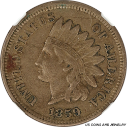 1859 T1 Indian Cent NGC XF45 A Nice Copper Nickel Cent