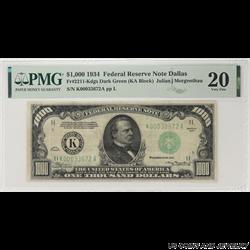 1934 $1000 Federal Reserve Note, Dallas, PMG  20 Very Fine - Scare Note