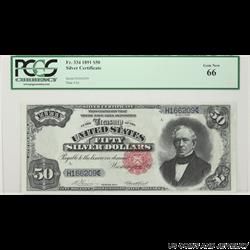 1891 $50 Silver Certificate FR# 334 PCGS GN 66 SN# H166209 Vernon Treat
