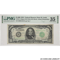1934 $1000 Federal Reserve Note St. Louis PMG CVF 35 FR#2211-H SN# H00018219A