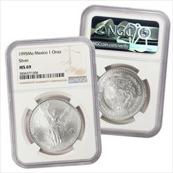 1995 1 Onza Silver NGC MS69