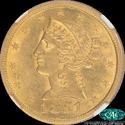 1851 Liberty $5 Gold Half Eagle No Motto NGC and CAC AU 58