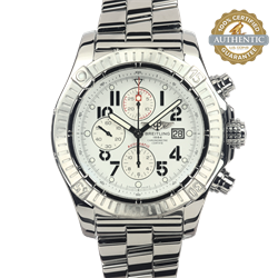 Breitling Super Avenger White Dial 2557769 A1337011 Watch and Papers