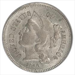 1866 Three Cent Nickel PCGS