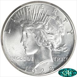 1928 Peace Dollar PCGS and CAC MS65+ Frosty Blast White Coin