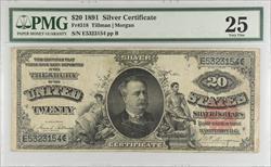 1891 $20 Silver Certificate PMG VF25 FR#318 S/N E5323154 pp B