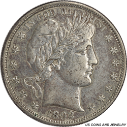 1892-S Barber Half Dollar AU Details First Year of Issue