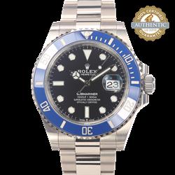 Rolex 41mm Submariner REF/126619LB 18K WG Blue Bezel Black Dial Watch and Card
