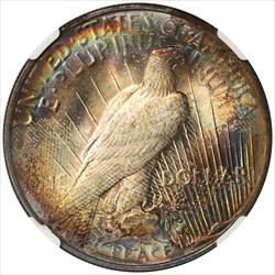 Colorfully Toned 1922 Peace Dollar NGC MS 62