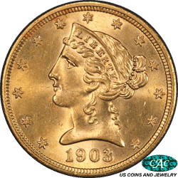 1903-S Liberty $5 Gold Half Eagle PCGS and CAC MS 64+ Sharp PQ+ Coin