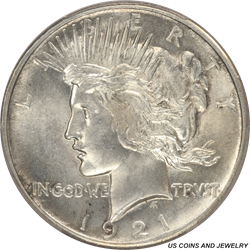 1921 Peace Silver Dollar PCGS MS63 - Nice Original Coin
