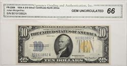 1934 A $10 Silver Certificate- North Africa  CGA GU66  B01910892A