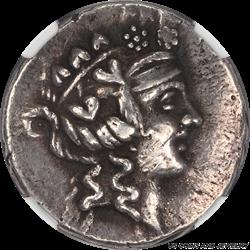Thrace Island of Thasos Dionysus Hercules Greek Silver Tetradrachm, NGC Choice Very Fine