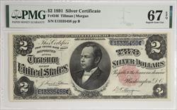 $2 1891 SILVER CERTIFICATE FR#246 PMG 67 EPQ