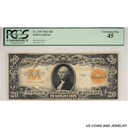 1922 $20 Gold Certificate Note PCGS 45 Extra Fine  Fr. 1187