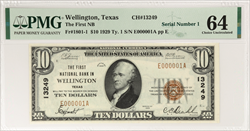 1929 $10 FNB of Wellington Texas National Currency PMG