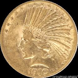1910-S Indian Head $10 Gold Eagle  Small White Holder ANACS AU50